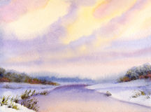 Watercolor winter landscape. Evening sky over river Stock Image