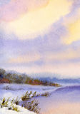Watercolor winter landscape. Evening sky over river Royalty Free Stock Photo