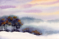 Watercolor winter landscape. Evening sky over valley Stock Photo