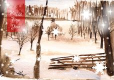 Watercolor winter landscape, happy new year Royalty Free Stock Images