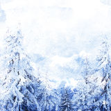 Watercolor winter landscape Royalty Free Stock Image