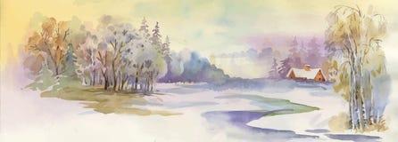 Watercolor winter landscape illustration. vector illustration