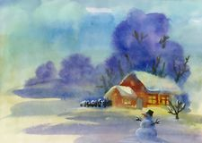 Watercolor winter landscape illustration. Watercolor winter landscape hand drawn illustration Royalty Free Stock Photos