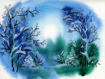 Watercolor winter landscape illustration. Watercolor winter landscape hand drawn illustration Royalty Free Stock Photography