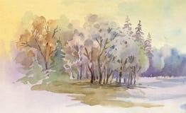 Watercolor winter landscape illustration. royalty free illustration