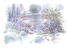 Watercolor winter landscape illustration. Stock Photos
