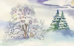 Watercolor winter landscape illustration. Watercolor winter landscape hand drawn illustration Stock Photography