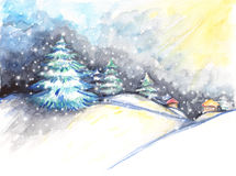 Watercolor winter landscape. Original hand drawn brush paint for happy new year cards and postcards. Christmas concept Stock Photos