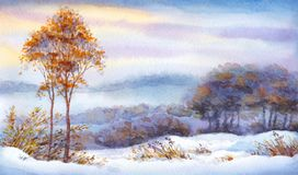 Watercolor winter landscape. Snow-covered valley and trees. Colorful beautiful bright romantic watercolour on paper backdrop with space for text. Young yellowed Stock Photo