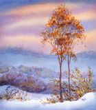 Watercolor winter landscape. Snow-covered valley and trees. Colorful beautiful bright romantic watercolour on paper backdrop with space for text. Young yellowed Stock Image