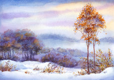 Watercolor winter landscape. Snow-covered valley and trees. Colorful beautiful bright watercolour on paper backdrop with space for text. Young yellowed seedlings Royalty Free Stock Photography