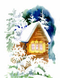 Watercolor winter landscape with snowy houses illustration. vector illustration
