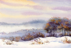 Watercolor winter landscape. Trees on the hill Stock Photography