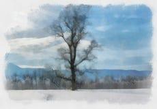 Watercolor winter landscapes Stock Photos