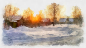 Watercolor winter landscapes. Winter watercolor landscape, in a residential area in the morning sun Royalty Free Stock Photo