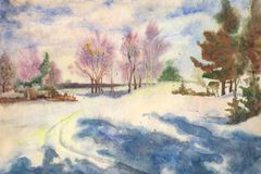 Watercolor winter morning royalty free stock photos