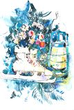 Watercolor winter New Year Christmas still life.  stock photography