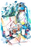 Watercolor winter New Year Christmas still life.  royalty free stock photography