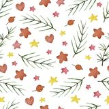 Watercolor winter seamless pattern. Pattern with winter berries, hearts, stars, branches. Perfect for you postcard design,invitations,projects,wedding card Royalty Free Stock Images