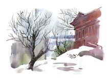Watercolor winter sketch of building and trees near the river. vector illustration
