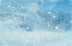 Watercolor winter snowstorm. Winter snowstorm. Holiday Winter background for Christmas and New Year design. Watercolor illustrationn stock photos