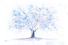 Watercolor winter tree Royalty Free Stock Photo