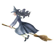 Watercolor witch. Hand painted magic character flying on broomstick. Helloween illustration isolated on white background Stock Images