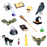 Watercolor witch symbols Stock Photography