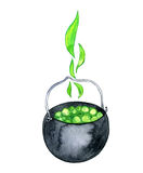 Watercolor witches cauldron Stock Image