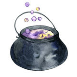 Watercolor witches cauldron Stock Photography