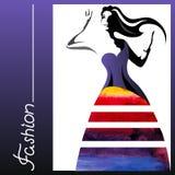 Watercolor woman Stock Photo