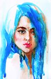 Watercolor woman with blue hair. Watercolor beauty young woman with long blue hair. Hand drawn portrait of girl. Painting fashion illustration on white royalty free illustration