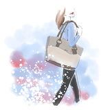 Watercolor woman with hand bag, fashion illustration. Watercolour standing woman with hand bag. Watercolor fashion illustration. Free hand painting card. Autumn Royalty Free Stock Photo