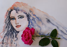 Watercolor woman portrait and rose. Hand drawn artistic brush painting with rose in beauty and fashion concept Royalty Free Stock Photography