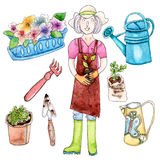 Watercolor woman, seedling and garden tools Stock Image