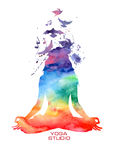 Watercolor woman silhouette of lotus yoga pose. Vector rainbow watercolor label with woman silhouette of lotus yoga pose