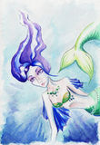 Watercolor women girl mermaid siren fish underwater Royalty Free Stock Photos