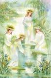 Watercolor women putting wreaths on lake water Royalty Free Stock Image
