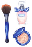 Watercolor women`s compact powder blush brush tool and perfume bottle. Watercolor women`s compact powder blush brush tool and perfume bottle eau de parfum Royalty Free Stock Photo