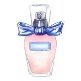 Watercolor women`s perfume bottle eau de parfum isolated.  Stock Photos