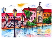 Watercolor wonderful town stock illustration