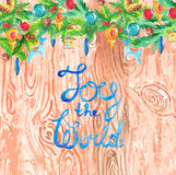 Watercolor wood background with Christmas decorations. And text Royalty Free Stock Photos