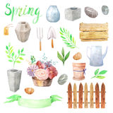 Watercolor wood elements with colorful flowers royalty free illustration