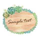 Watercolor wood slice banner with succulents. On white background Royalty Free Stock Photos