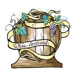 Watercolor wooden barrel wrapped in ribbon. Royalty Free Stock Image