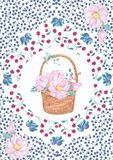 Watercolor wooden basket of flowers hand drawn illustration plate basket clip art on white background.  royalty free stock image