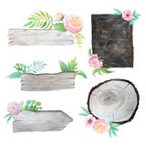 Watercolor wooden planks with flowers and leaves Stock Photography