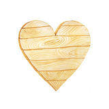 Watercolor wooden planks in heart form. Hand painted Watercolor wooden heart in rustic style. Decorative wood banner pefect for card making, wedding invitation Stock Image