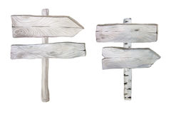 Watercolor wooden planks and signpost Stock Image