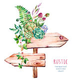 Watercolor wooden pointer.decorated with flowers vector illustration